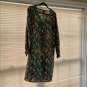 Green and brown Oscar shift dress size 12